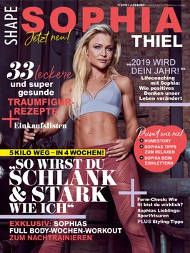 """Kraftvolle Kooperation: Fitness-Magazin SHAPE launcht """"Sophia Thiel Magazin"""" / Ab 9. Januar 2019 im Handel"""
