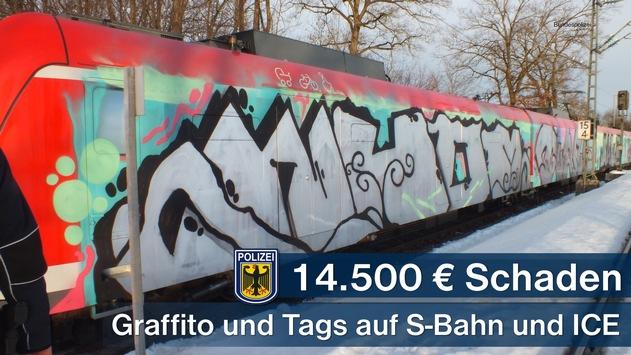 Bundespolizeidirektion München: Graffititäter verursachen Sachschaden in Höhe von rund 14.500 Euro: ICE und S-Bahn beschmiert