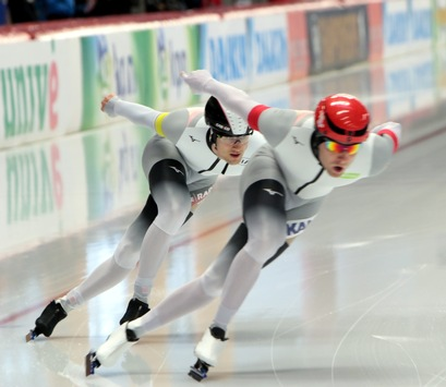Sportsoldaten bei der Einzelstrecken Weltmeisterschaft der Eisschnellläufer 2019
