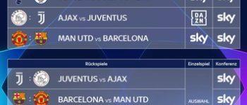 Das Viertelfinale der UEFA Champions League: alle Spiele, alle Tore in der Original Sky Konferenz sowie die Einzelspiele ManUnited - Barcelona und Tottenham - ManCity live und exklusiv bei Sky