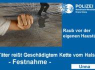 POL-UN: Unna - Raub - Täter riss Geschädigtem Kette vom Hals