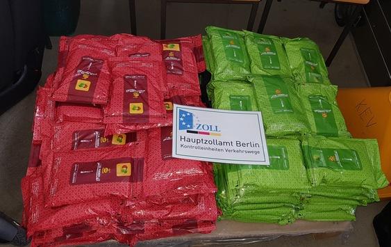 HZA-B: Zoll stoppt Reise von 150 Kilogramm Tabak in Berlin  Berliner Zoll stellt 150 Kilogramm Wasserpfeifentabak sicher