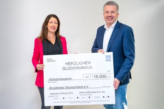 15.000,- Euro spendet GINA LAURA an Brustkrebs Deutschland e.V.
