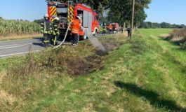 FW-ROW: Grasfläche gerät in Brand ++ Kleinkind klemmt sich den Finger in der Treppenstufe eines Bauwagens ein